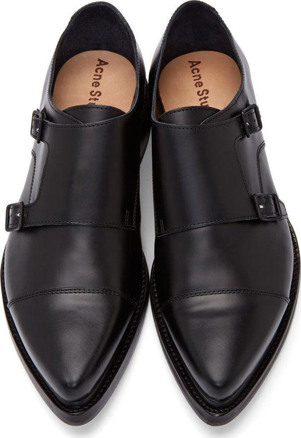 Acne Studios Black Leather Penn Monk Shoes