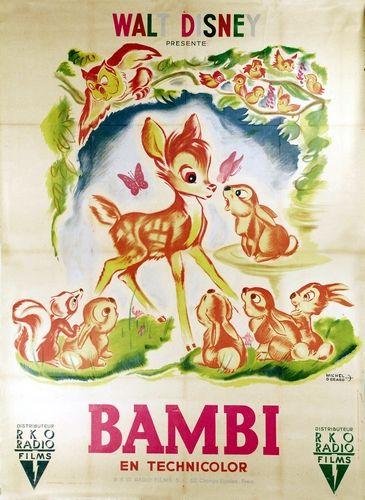 Affiche du dessin animé Bambi sortie en 1942                                                                                                                                                                                 Plus