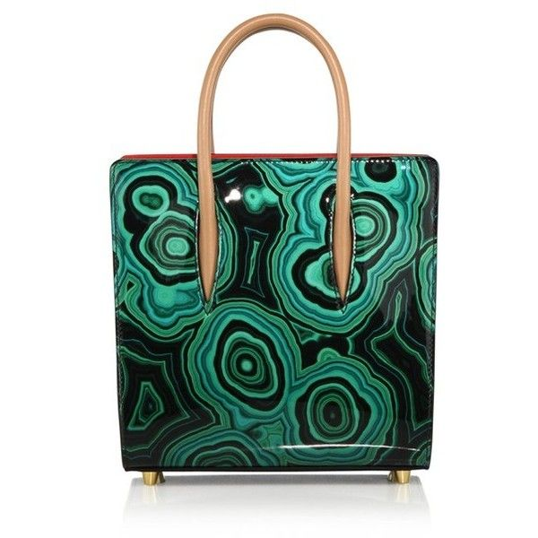Christian Louboutin Paloma Small Malachite Patent Leather Tote ($2,000) ❤ liked on Polyvore featuring bags, handbags, tote bags, green, totes, structured tote bag, green tote handbag, tote purses, green tote and patent tote bag