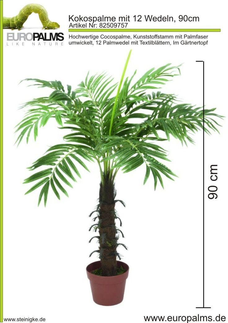Europalms 82509757 - Hochwertige Cocospalme ¨Kunststoffstamm mit Palmfaser umwickelt  ¨12 Palmwedel mit Textilblättern ¨Im Gärtnertopf  ¨Höhe 90 cm Steinigke