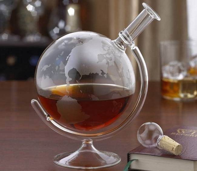 Etched World Globe Spirits Decanter, $49.95