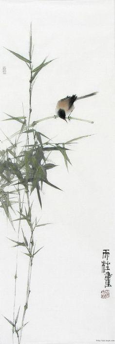 ♂ Asian ink art Chinese watercolor Bamboo and bird Qin Tianzhu