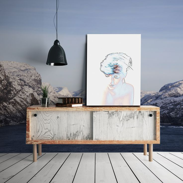 Interior design. Beautyful Norwegian Lysefjord as wallpaper. Photography art - on William Turner paper.