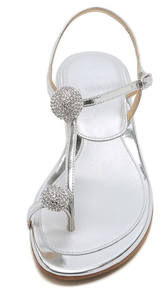 Koovan Women's Sandals 2018 New Summer Rhinestone Ball Toe Shoes With Low-heeled Sandals Flat Bottom For Girls Beach Shoes