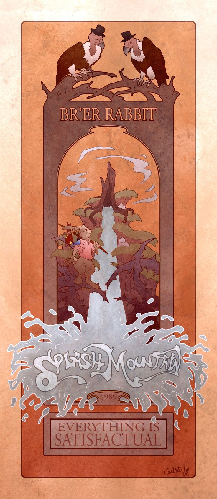 Splash Mountain poster with a nouveau/Alphonse Mucha twist.