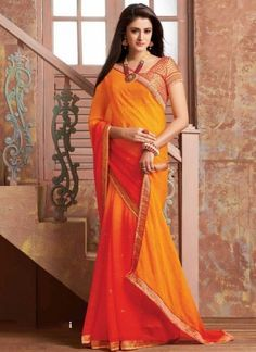 Shaded Orange Mustard Booti Prints Chiffon Satin Printed  Sarees http://www.angelnx.com/Sarees/Bollywood-Sarees#/sort=p.sort_order/order=ASC/limit=32/page=3