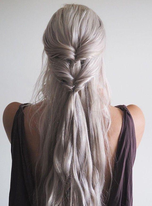 Replicate this Khaleesi-inspired look with just 2 clear elastic hair ties.
