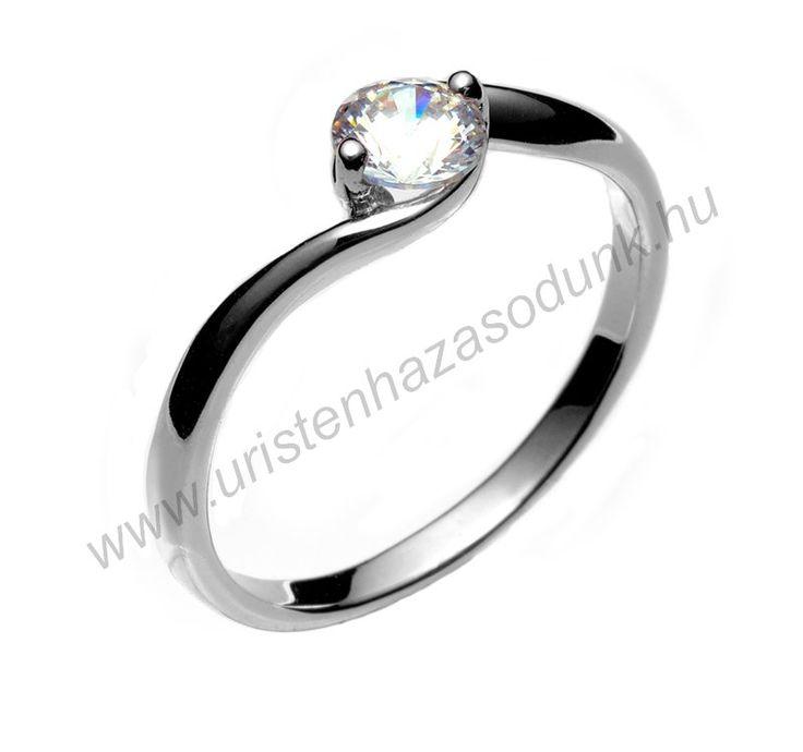 E6FC - 29.750 Ft 14 karátos fehér arany cirkónia köves Eljegyzési Gyűrűk 48-60-as méretig azonnal raktárról www.uristenhazasodunk.hu