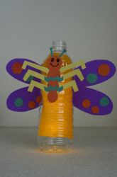 Lightning bugs/ Use bottle with toddlers, have them fill with pom poms add wings and body to make butterfly as shown above