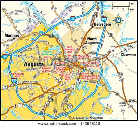 Map Of Augusta Georgia And Surrounding Area.Augusta Georgia Area Map Pics Of Augusta Area Map Map Georgia