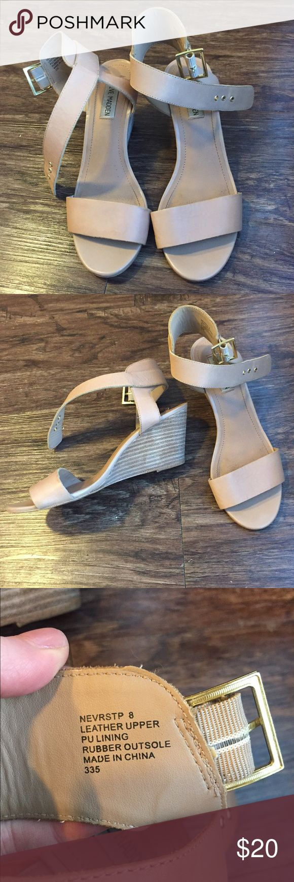 Steve Madden Wedges 💅🏼 Small wedge, very modest - Adjustable ankle straps - Used, small signs of wear as seen in photos - Only worn once for a wedding Steve Madden Shoes Wedges