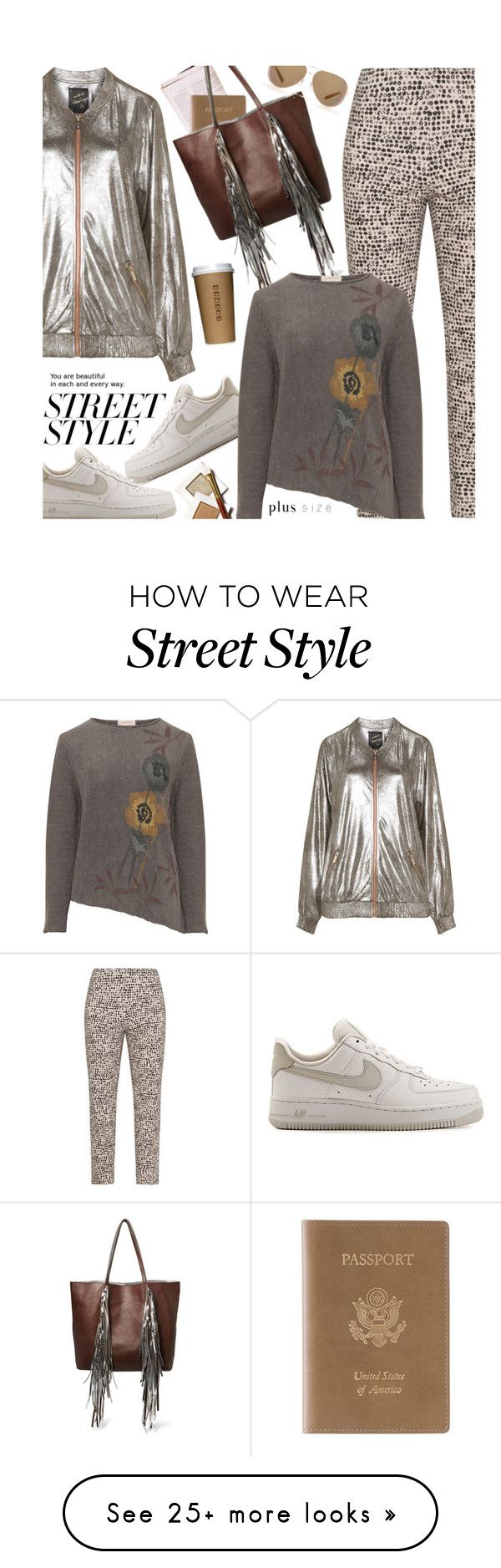 """Street Style (plus size)"" by beebeely-look on Polyvore featuring Sallie Sahne, Mat, NIKE, Royce Leather, Sara Battaglia, Isolde Roth, Michael Kors, StreetStyle, plussize and curvy"