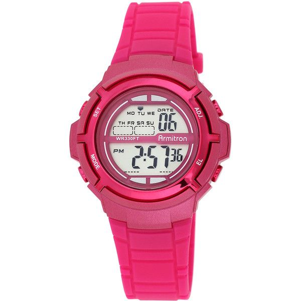 Armitron Womens Pink Digital Sport Watch ($26) ❤ liked on Polyvore featuring jewelry, watches, pink digital watches, alarm wrist watch, digital watch, pink watches and leather-strap watches
