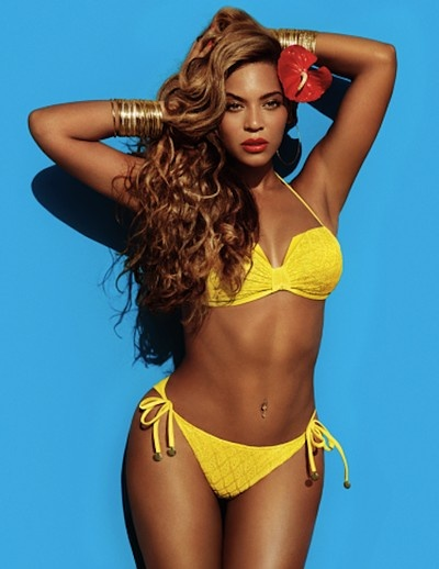 Beyoncé Shows Off a Yellow String-Bikini in This Shot From Her H & M Campaign.