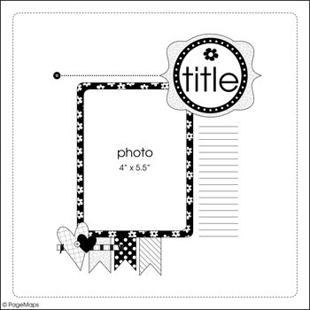 Cute way to scrapbook/smashbook/journal one picture // from the July Page Maps ETC - Sketch #5 - Scrapbook.com