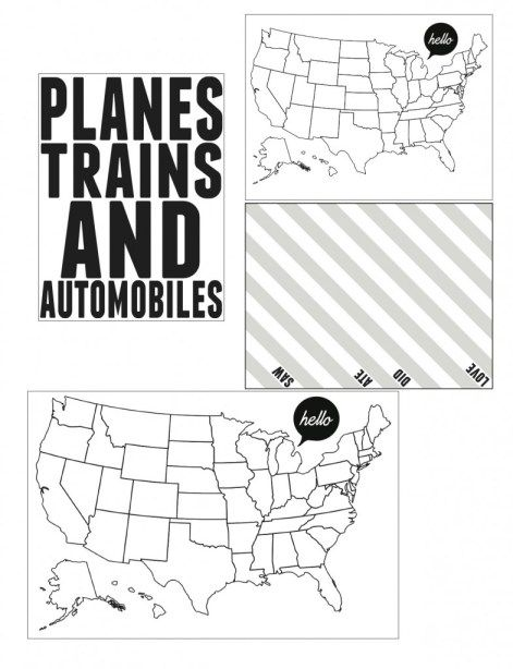 Free travel map, vacation, trip cards for project life