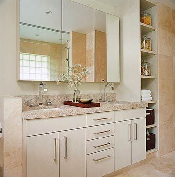 Contemporary Bath With Double Vanity   Light Countertops And Light Vanity Design Ideas