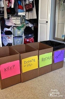 good idea for decluttering before moving. like the idea of lining the 'trash box' with a garbage bag.
