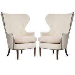 in the style of edward wormley for dunbar pair of early wing chairs 1930s
