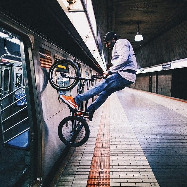 Riding the train - BMX New York Subway