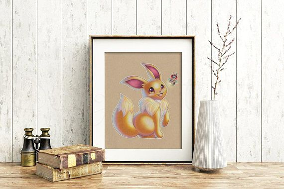 Eevee Art Signed Print Pokemon Art Pokemon Geek Art