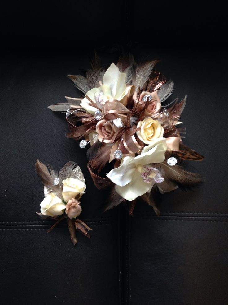 Taupe And Ivory Orchid And Rise Prom Corsage Prom