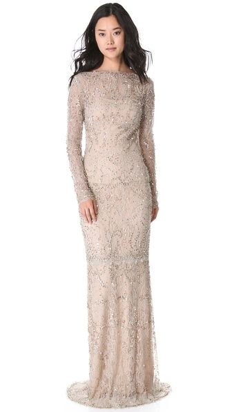 Marchesa Beaded Lace Gown - would be perfect if it had a complete lining.