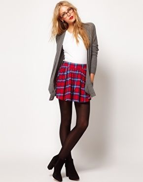 Tartan skirt- love this outfit!!