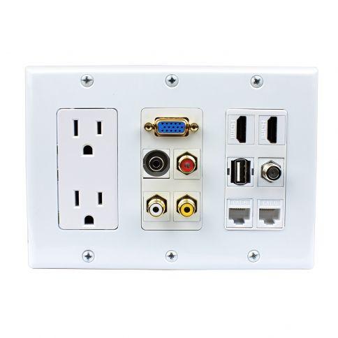 Multipurpose design 2x Power Outlet 2x HDMI 1x USB 3x RCA 2x Cat6 1x 3.5MM 1xVGA 1xF type Wall Plate