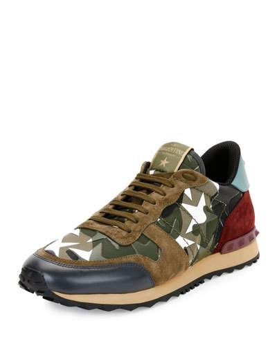 VALENTINO MEN'S ROCKRUNNER CAMUSTARS TRAINER SNEAKER, ARMY GREEN/WHITE. #valentino #shoes #sneakers