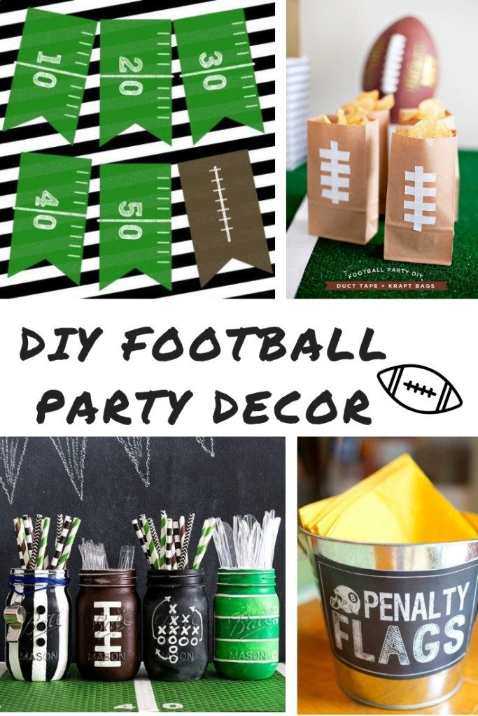 Diy Football Party Decorations To Get Your Home Super Bowl Ready Sprinkled With Paper Football Party Decorations Diy Football Party Superbowl Party Decorations