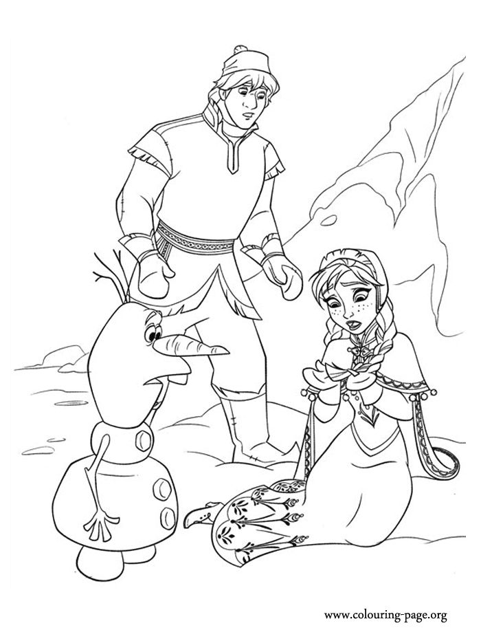 Anna Kristoff And Olaf On Ice Coloring Page