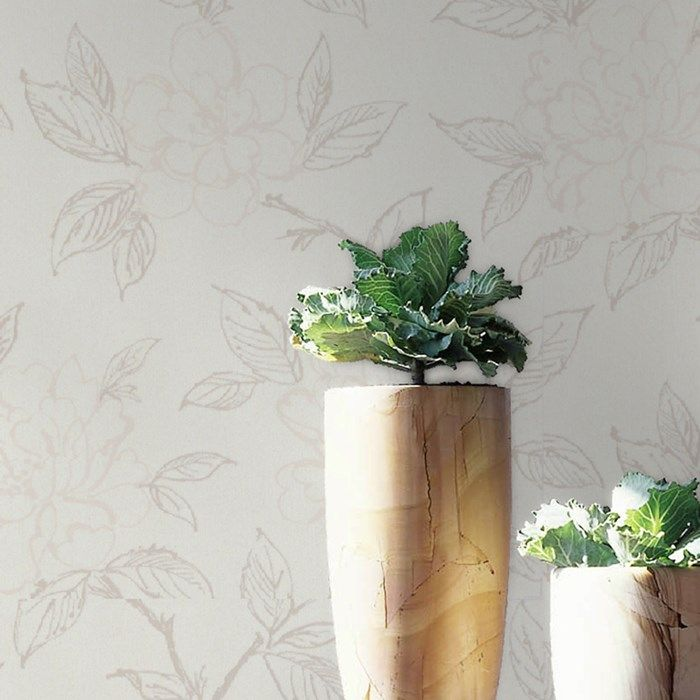 Bloom White Wallpaper by Graham and Brown