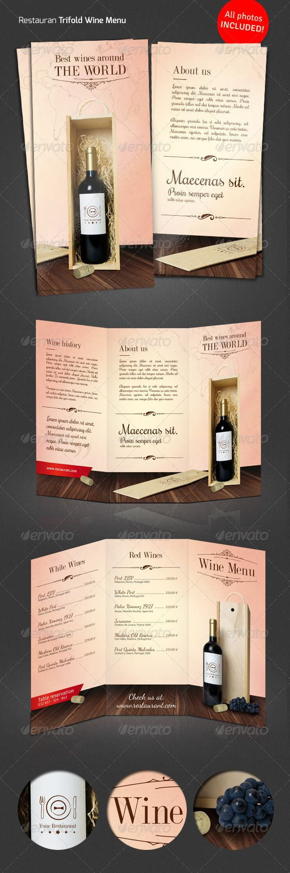 Wine / Restaurant Tri-Fold Menu  #GraphicRiver         Elegant tri fold DL (295×210 to 99×210 mm) wine menu.    All photos and logo included!  print ready  CMYK, 300 dpi  3 mm bleed  free fonts used: Signika, Dancing Script, Dubiel  	 Fonts are NOT included (links provided in the help file).  	 Free ornaments used.     Created: 7November13 GraphicsFilesIncluded: PhotoshopPSD Layered: Yes MinimumAdobeCSVersion: CS3 PrintDimensions: 295x210