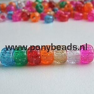 Haarkralen Glitter Mix / Pony beads Sparkle Mix