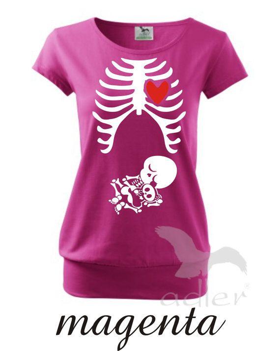 New Maternity Pregnancy funny xray skeleton baby print. by Rezona