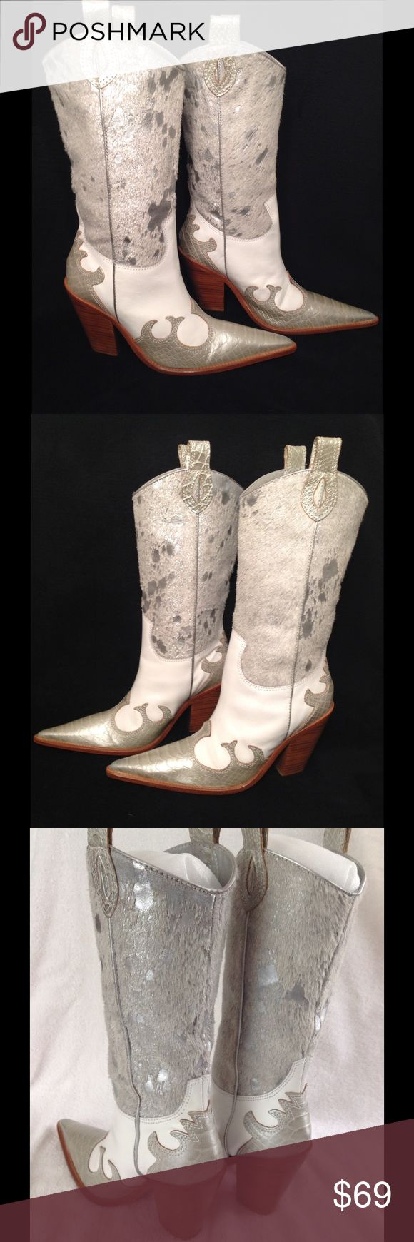 """Para Raio Sz 6M Western Boots Para Raio~Women's Sz 6M...ALL LEATHER! Made in Brazil White Leather with Silver Metallic and Calf-Hair Shaft and Part Croc Embossed Pearlized Toe. Awesome Cowboy/Western Style Boots. Very Pointed Toe and Stacked Cuban Heel!! Full Leather Upper and Leather Sole! Natural Light/Dark Variations in Calf Hair! Soles are BARELY Used! They Run a little big because of the Pointy Toe AWESOME  Condition! No Rips, Holes,StainsSmells Inside and Out! Shaft 12"""" Calf…"""