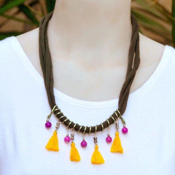 Declaración africana collar collar de piedras por StudioDjewelry