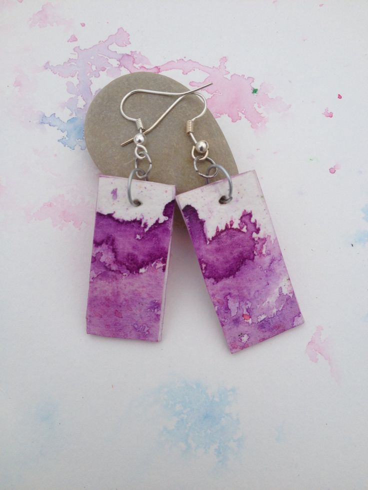 Purple Watercolor Earrings  - Hand Painted Watercolor Dangle Earrings - One of a Kind Watercolour Jewelry - Purple  earrings by NiagaraGlassMosaics on Etsy