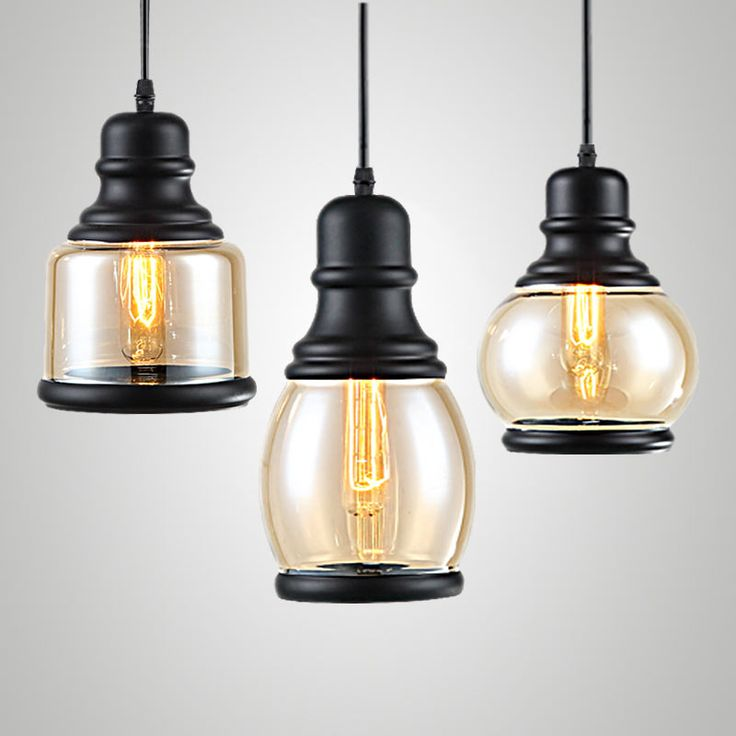 Loft Pendant Lights Fixtures Modern Glass Lamp Dining Room Restaurant  Kitchen Indoor Decor Black Iron E27 Images