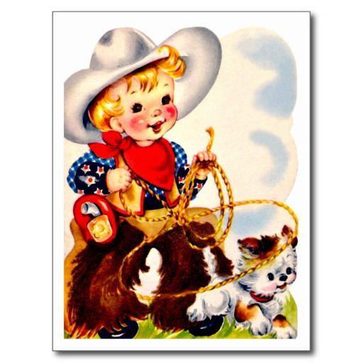 """Weinig Cowboy en Puppy - Retro Gelukkige Briefkaart van de Verjaardag De vintage Retro Kaarten van de Verjaardag voor alle leeftijden.   De grappige, Leuke, Gelukkige Kaarten van de Verjaardag voor kinderen, meisjes en jongens, mamma's en dads, grootmoeder en grootvader, broers en zusters, tantes en ooms, neven… en voor vrienden.  Alle kaarten zijn hersteld, de hersteld de smetten, vlekken en de scheur. Personaliseer als u door te gebruiken """"aanpast het"""" knoop dit wenst. Wij hopen u van ons…"""