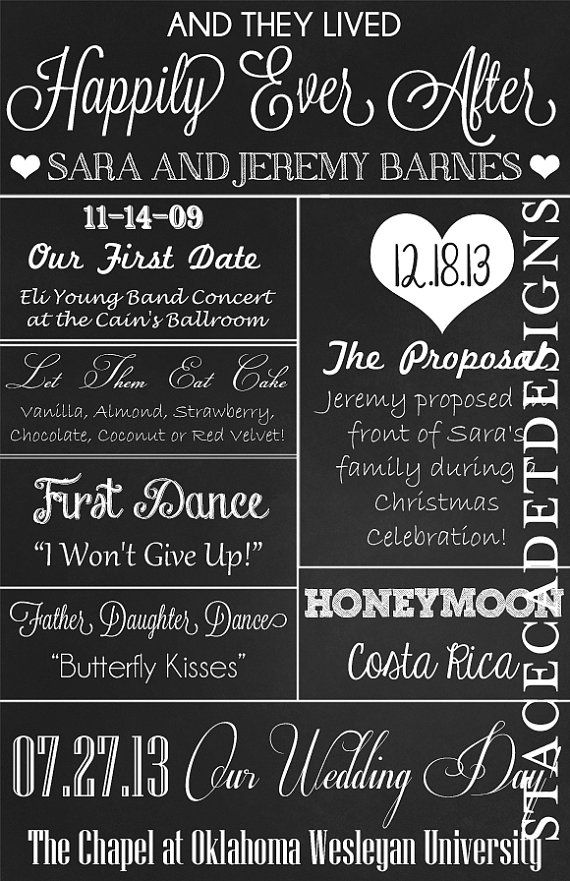 Love this chalkboard wedding reception program! So cool that it isn't really chalkboard but paper!!