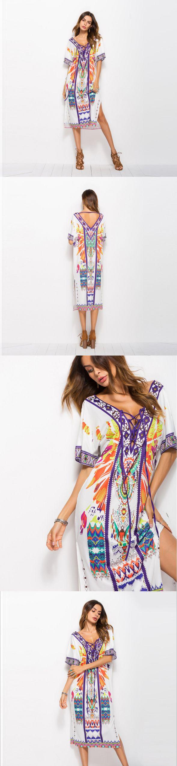 Plus Size Bohemian Dress Loose Beach Vacation Printed Side Slit Dress,CQ00030