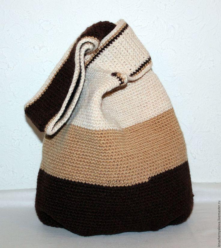 """Купить Сумка-бохо вязаная """"Колдунья Тамамо """" - коричневый, в полоску, сумочка ручной работы"""