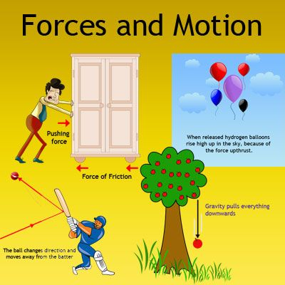 Forces and Motion: Our world is surrounded by forces. Examples of forces: Gravity, friction, upthrust, magnetic force, surface tension, electric force. This is a great lesson on forces for kids. Learn all interesting facts about forces with this lesson.