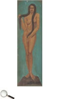 Jamini Roy (1887 – 1972), Untitled (Standing Nude), oil on canvas, signed lower centre