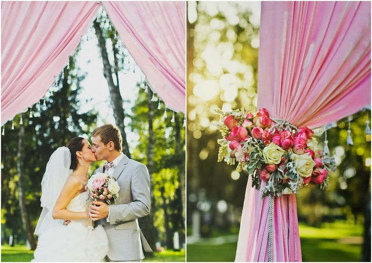 Августовская свадьба Евгении и Сергея - flowerbazar.ru, Свадебная церемония на свежем воздухе, свадебная арка