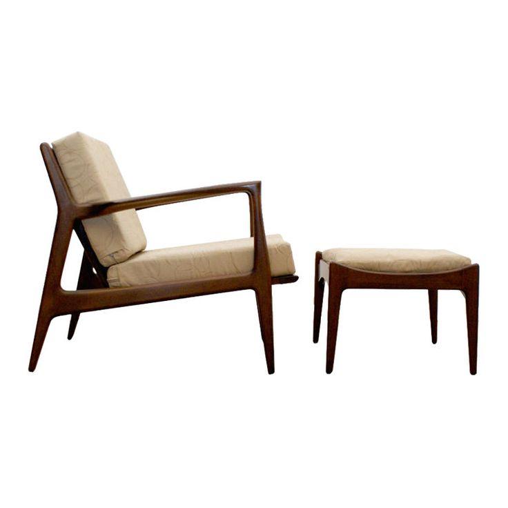 danish lounge chair u0026 ottoman by ib kofodlarsen ca 1960s