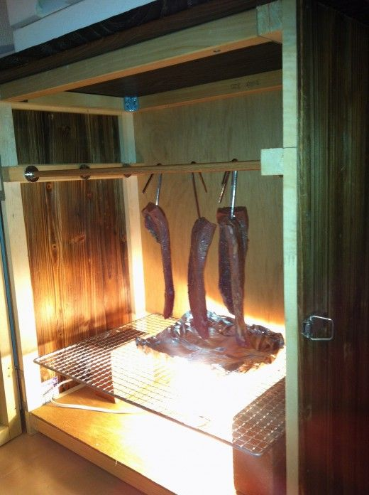 The four strips of biltong shortly after they were hung in my biltong drying box. (day1)
