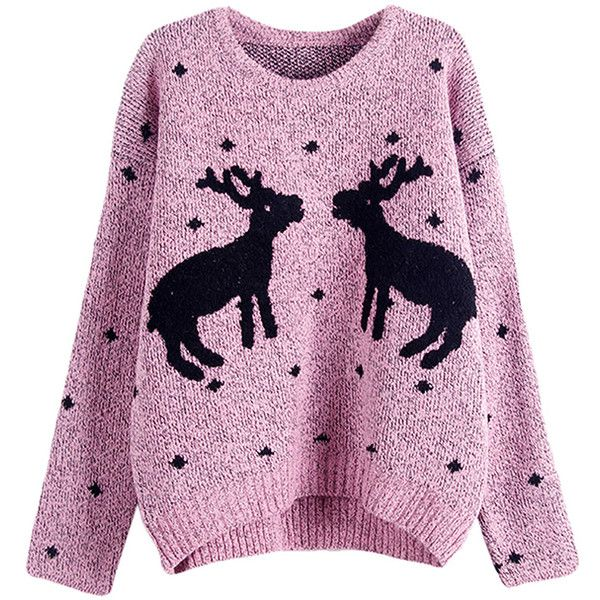 Womens Crewneck Two Reindeers Patterned Ugly Christmas Sweater Pink found on Polyvore featuring tops, sweaters, christmas, shirts, pink, christmas tops, crew neck tops, pink top, crewneck sweater and pattern tops
